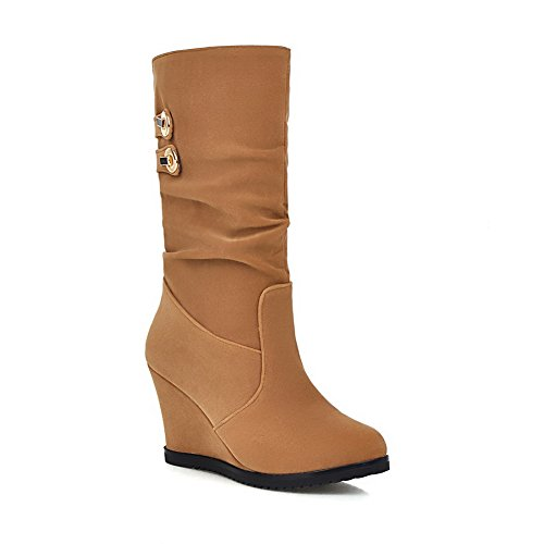 Thick Color Metal Ornament Boots Platform Heel Bottom Beige Matching Ladies A amp;N Frosted ZYqH66