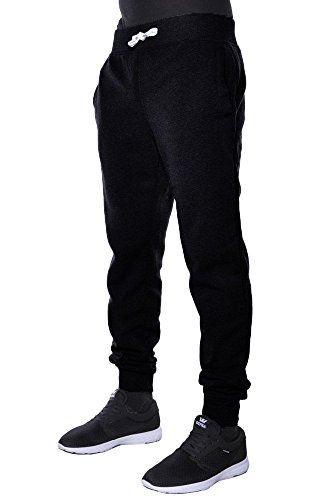 Mens Active Basic Urban Harem Slim Fit Elastic Fleece Jogger Pants (Medium, Black)