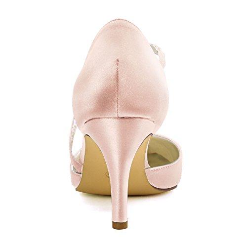 De Talon Bout Haut Hc1711 Aiguille Mariee Blush Soiree Chaussures Satin Pointu Elegantpark Femme zwCUxgq