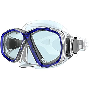 TECNOPRO Máscara de buceo (M7, color azul brillante, tamaño medium