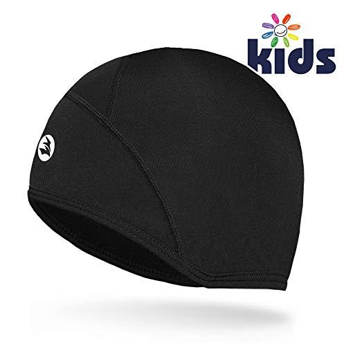 Empirelion Kids Helmet Liner Teens Thin Thermal Skull caps Cover Ears Beanie Child Running Hats for Boy & Girl (Black, 4-6-8 Kids)