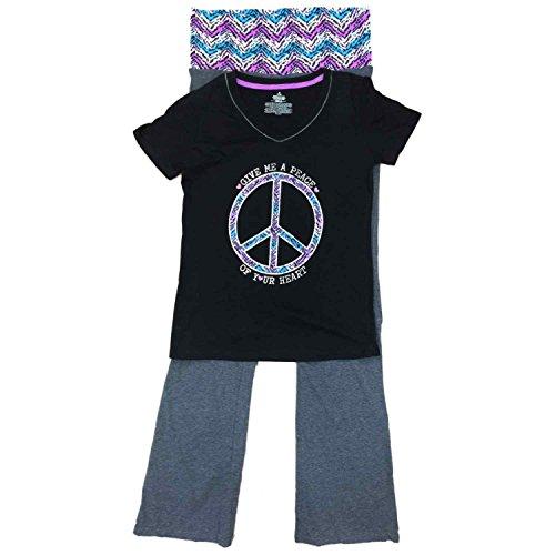 Womens Give Me A Peace of Your Heart Pajamas Peace Sign Pajamas Sleep Set Medium Gray