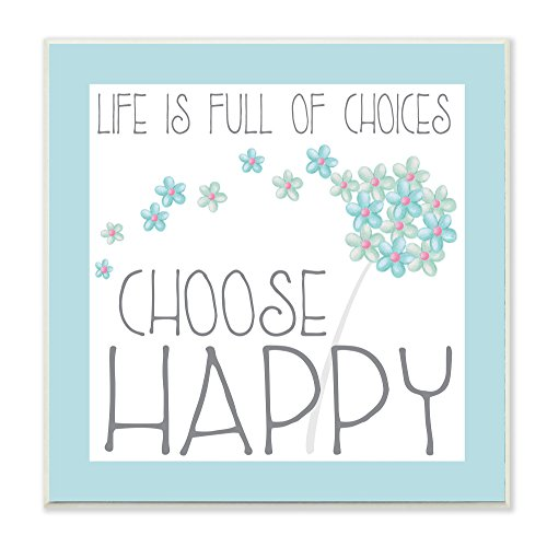 Stupell Home Décor 'Choose Happy' Blue Floral Wall Plaque Art, 12 x 0.5 x 12, Proudly Made in USA by The Kids Room by Stupell