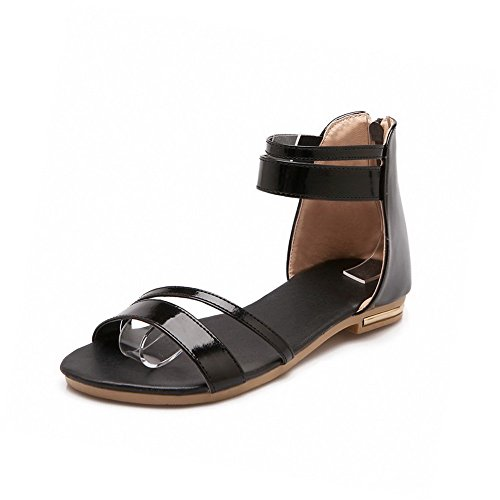 AllhqFashion Women's Low Heels Solid Zipper Open Toe Sandals Black