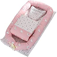 DOLDOA Baby Bassinet for Bed Portable Baby Lounger for Newborn,100% Cotton Newborn Portable Crib,Breathable and Hypoallergenic Sleep Nest Newborn Lounger Pillow for Bedroom/Travel (Alpaca)