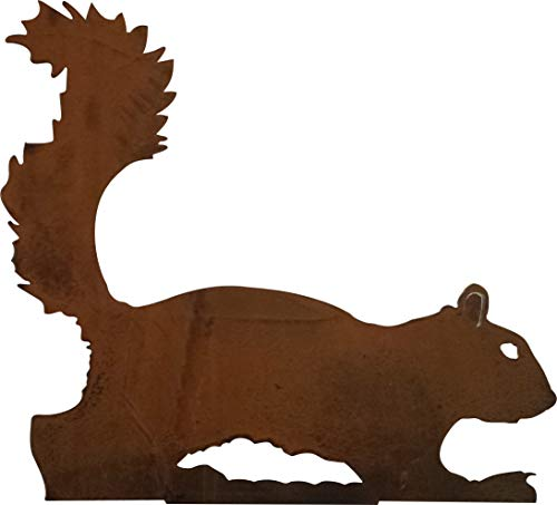 California Home and Garden CH381 Metal Walking Squirrel Silhouette, 11 Inch Tall, Rustic Look Artwork, Brownish Red