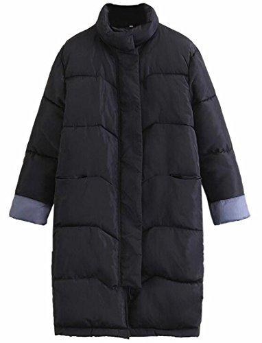 today-UK Women Fashion Cotton Padded Long Down Outwear Coat Jacket Black