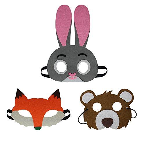 D.Q.Z Cartoon Animal Felt Eye Masks for Kids Dress Up Bithday Party Fox Bear Rabbit Forest Animal Mask Pretend Play