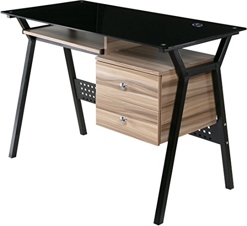 OneSpace Glass Desk with Wood Drawers and Pullout Keyboard Tray, Black and Walnut