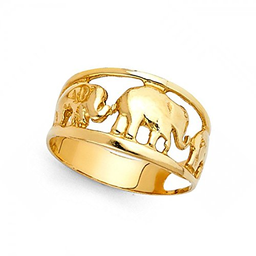Three Elephants Ring Solid 14k Yellow Gold Good Luck Charm Band Polished Design Genuine 10MM Size 8.5