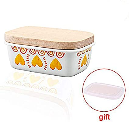 Mantequera de cerámica con tapa de madera esmaltada para ...