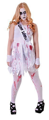 Girls Teenage Teen Bloody Prom Queen Zombie Horror Halloween Fancy Dress Costume Outfit One Size 12-16 years (One Size)]()