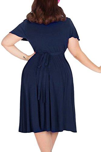 bd9fc1cb92 Nemidor Women s V-neckline Stretchy Casual Midi Plus Size Bridesmaid Dress