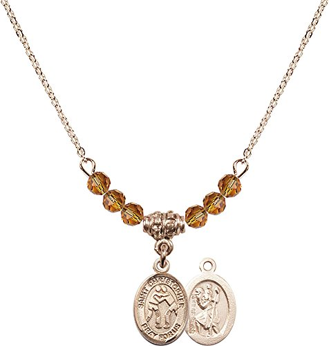18-Inch Hamilton Gold Plated Necklace with 4mm Topaz Birthstone Beads and Gold Filled Saint Christopher/Wrestling Charm. by F A Dumont