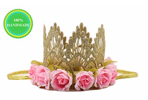 Princess Birthday Hat, Gold Lace & Pink Flowers Crown, Party Decorations for Baby and Girls