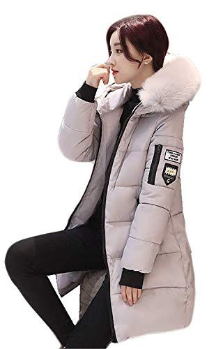 Doudoune Manteau Femme Longues Grande Taille Hiver Parka Elgante Young Styles Manches Longues Mode Warm paissir avec Capuchon Fourrure Doudoune Coat Outwear De Bonne Qualit Grau