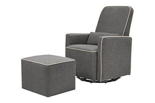 (DaVinci Olive Upholstered Swivel Glider with Bonus Ottoman, Dark Grey with Cream Piping)