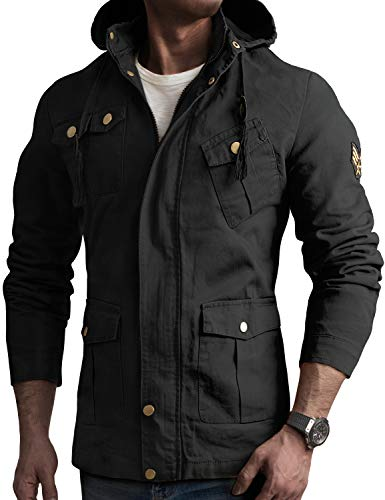 IDARBI Men's Cotton Casual Windbreaker Military Air Force Jacket Bomber Cargo Jackets Black XL Plus ()