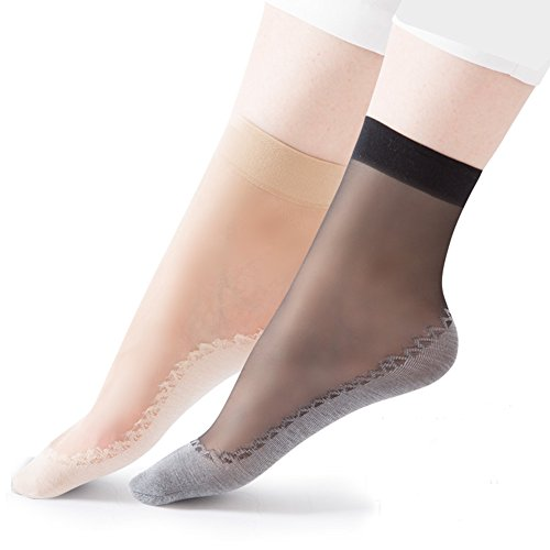 HaloVa Women's Silk Stockings, Ultra-Thin Cotton Sole Short Ankle Socks, 10 Pairs, 5 Black, 5 Skin Color