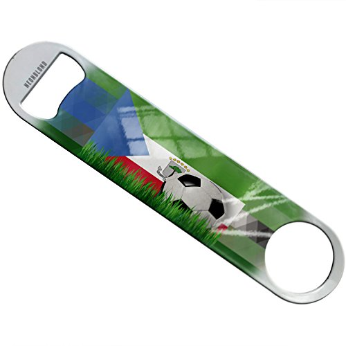 NEONBLOND Soccer Team Flag Equatorial Guinea Flat Beer Bottle Opener Heavy Duty Bartender by NEONBLOND