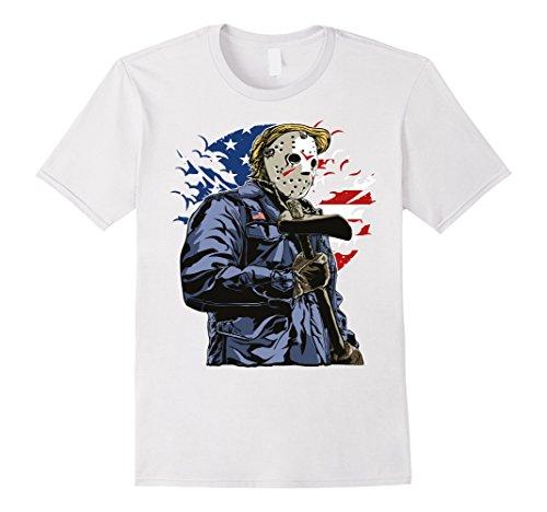 World Most Interesting Man Costume (Mens American killer Scary Halloween jason Axeman t shirt! Medium White)