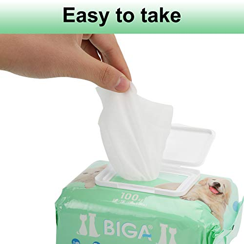 Deodorizing Hypoallergenic Pet Wipes with Fragrance Free Natural Organic and Antibacterial for Cleaning Face Butt Eyes Ears Paws Teeth 100ct per Pack (Aloe Vera 6 Pack) by BIGA (Image #5)