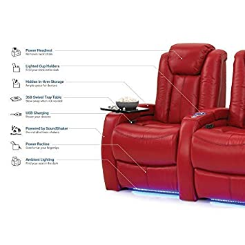 Seatcraft Delta Leather Home Theater Seating Power Recline with Adjustable Powered Headrests, Hidden In-Arm Storage, SoundShaker, and Lighted Cup Holders and Base, Row of 2, Red
