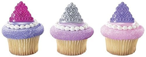 Princess Crown Tiara Royal Birthday Party Cupcake Rings (24-Pack) -