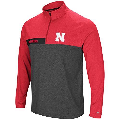 -No Mercy-1/4 Zip Pullover Windshirt-Nebraska Cornhuskers-Heather Scarlet-XL ()