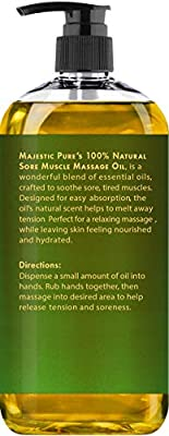 Arnica Sore Muscle Massage Oil for Joints and Muscles by Majestic Pure - Soothe Sore, Tired Muscles, Nourishing and Hydrating, 8 fl. oz.