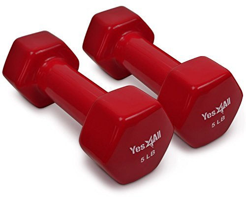 Yes4All Vinyl Coated Dumbbells  PVC Hand Weights for Total Body Workout (Set of 2, Red, 5 lbs)