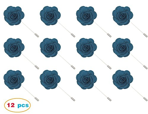 Gellwhu 12pcs Men's Suit Lapel Flower Brooch Pin Rose for Wedding Boutonniere Stick (#10)