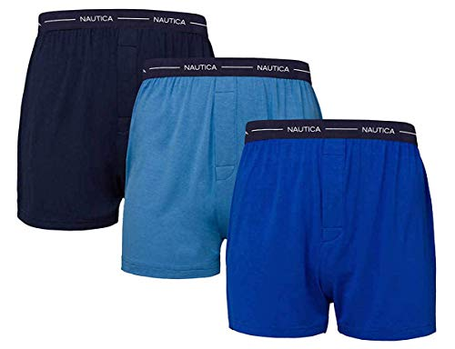 Nautica Men's Boxer Modal Cotton Fit Boxer with Functional Fly Tagless, 3 Pack (Large, Navy- Sky Blue- Dark Blue)