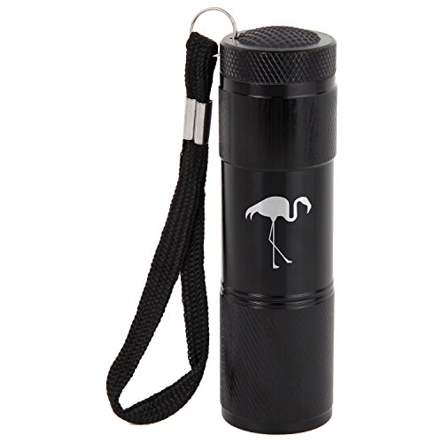 Flamingo 9-Led Flashlight With Strap - Black Flashlight - Laser Engraved Design - Led Flashlight Keychain - Gift For All Occasions ()