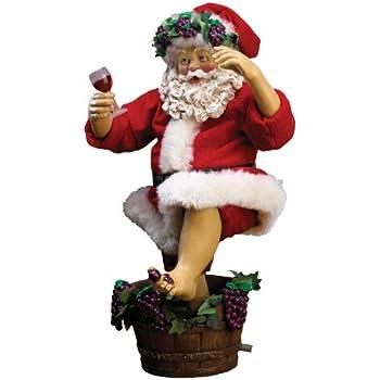Kurt Adler Fabriche Grape-Stomping Wine Santa Figurine, 10-Inch