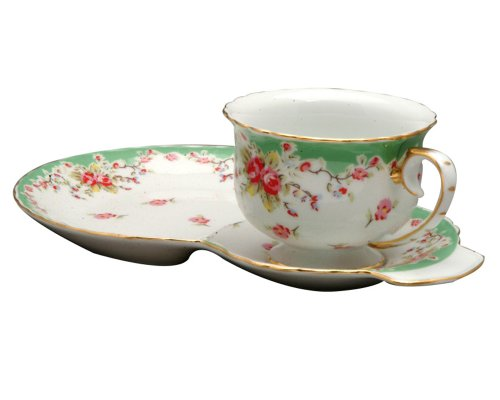 Gracie China by Coastline Imports Vintage Green Rose Porcelain 2-Piece Snack Set, Green ()