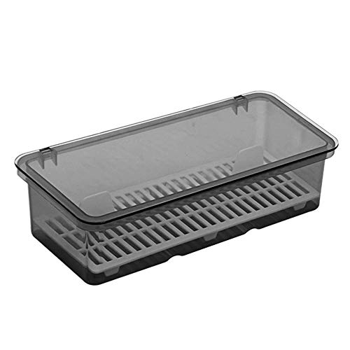 Volwco Plastic Cutlery Tray and Utensil Storage Container,Storage Basket for Cutlery, Serving Spoons,with Cover and Drainer for Utensils,Utensil Storage Container