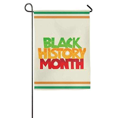 AoshangGardeflag Black History Month Color Logo Garden Flag Indoor & Outdoor Decorative Flags for Parade Sports Game Family Party Wall Banner 12 x 18 inch