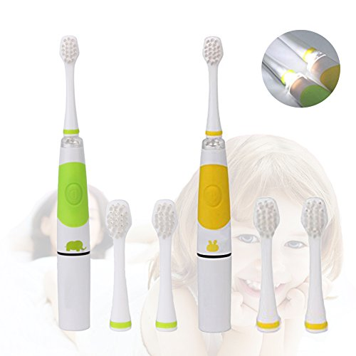 2PCS Children Sonic Electric Toothbrush LED Light Kids Sonic Toothbrush Smart Reminder Baby Toothbrush 618 Toddler Toothbrush with Extra 4 Replaceable Brush Heads for 2-10 Kid (Light Green + Yellow)