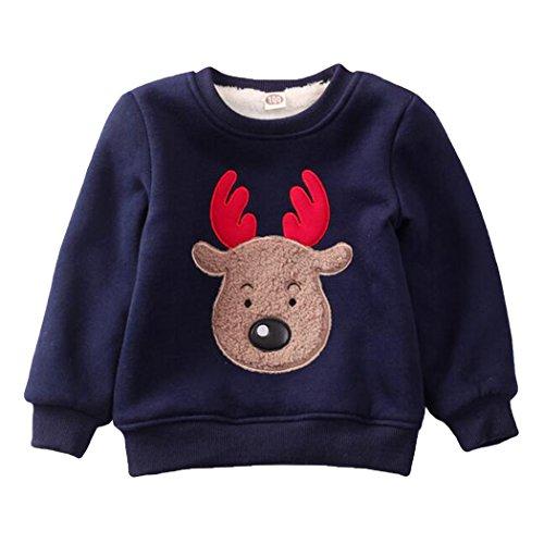 Kids Boys Crewneck Sweatshirt Toddler Long Sleeve Christmas Shirts Reindeer Fleece Pullover (Deer, 5-6 Years/6T)]()