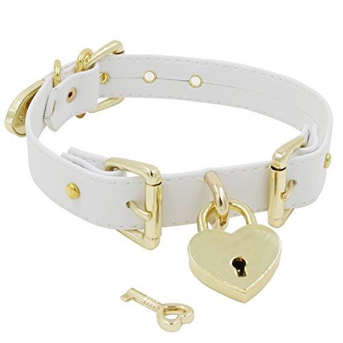 Handmade Buckle (Handmade Gold Buckles Heart Padlock Leather Choker Collar)