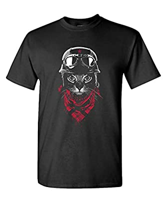 ADVENTURE CAT motorcycle biker retro cute - Mens Cotton T-Shirt