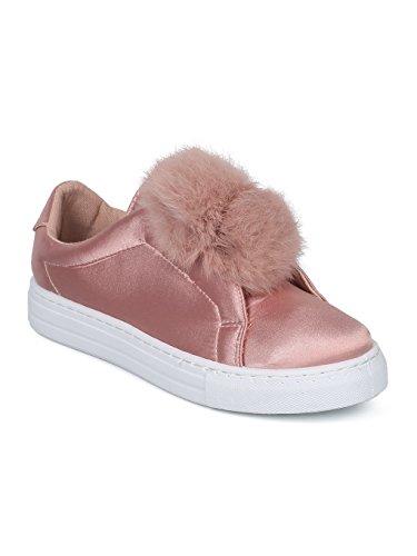 (Alrisco Women Mixed Media Pom Pom Slip On Low Top Sneaker HC90 - Mauve Satin (Size: 10))
