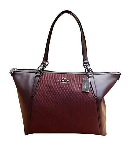 Coach AVA Legacy Jacquard Tote Bag Handbag, Black Antique Nickel, Oxblood 1 (Tote Handbags Coach)