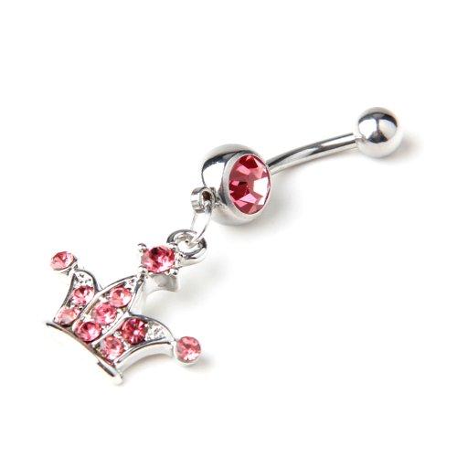 316L Couronne en acier chirurgical 14g Rose Jeweled forme Dangle Piercing Nombril pour nombril Barre