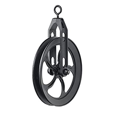 ArtifactDesign Vintage Rustic Industrial Look Medium Wheel Farm Pulley for Custom Make Wall Pendant Lamps Frosty Black