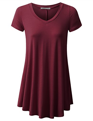 (URBANCLEO Womens V-Neck Elong Tunic Top Mini T-Shirt Dress Burgundy XLarge)