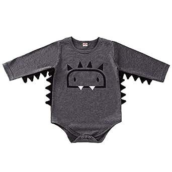 Xifamniy Infant Baby Autumn Romper Cartoon Monster Pattern Round Neck Cotton Jumpsuit Gray