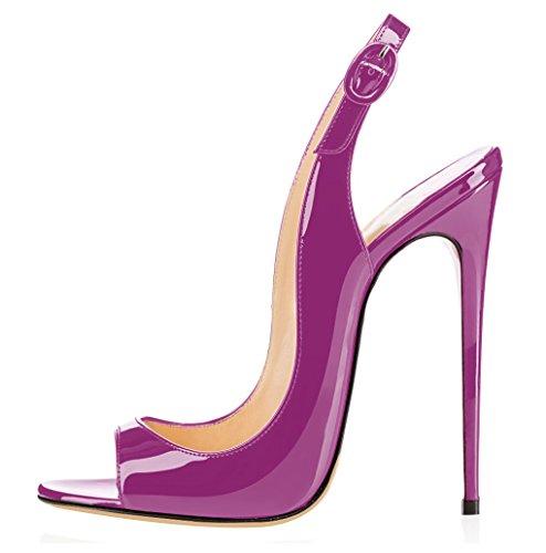 Fibbia da a Peep Toe Donna Cinturino con Spillo elashe Slingback Scarpe Caviglia Sandali Viola Tacco 1wZgaa