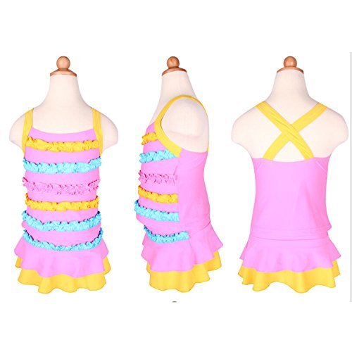 Gardening Spring Baby Girls New Cute Colorful Lace Decoration Children Two-pieces Swimsuit Pink